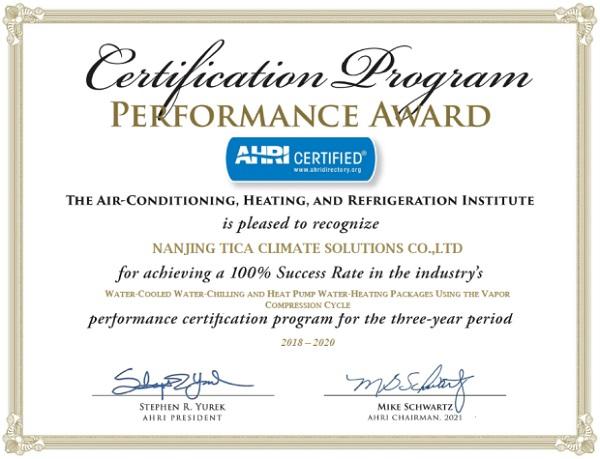 Сертификация AHRI - чиллеры с водяным охлаждением TICA
